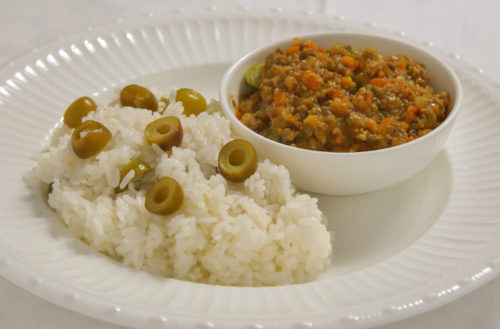 Keema curry with plenty of summer vegetables made with olives