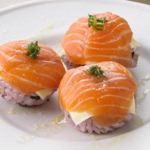 Sanuki Samon and Cheese Temari Sushi